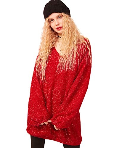 Elf Sack Womens Sexy V Neck Sweater Tops with Buling Details, Party/Club Loose Fit Long Sleeve Knitted Pullover Shirt