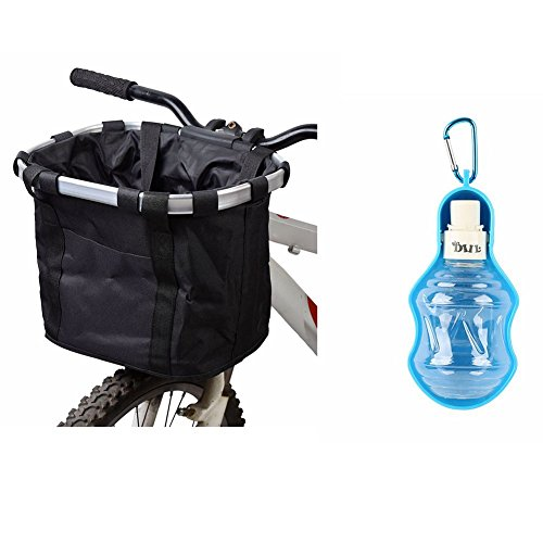 Dog Cat Bicycle Basket with Water Dispenser Foldable Detachable Bike Front Carrier Travel Water Bottle for Pet Pack of 2 (Black) from Perseverz