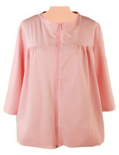 Post-op Top Zipper Front Long Sleeve Shirt (Medium, Pink)