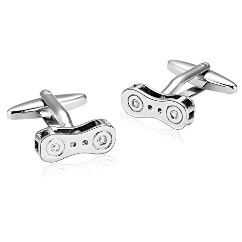 Adisaer Wedding Cufflink for Men Business Gift Stainless Steel Silver Bicycle Chain Dress Shirt Cufflink