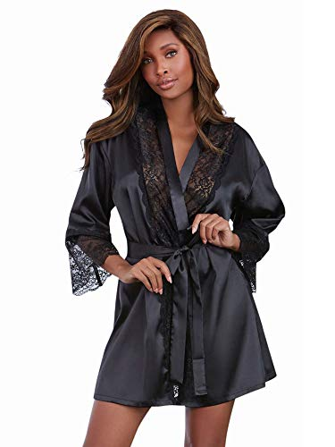 Dreamgirl Women's Satin Charmeuse Robe with Lace Trim Details, Black, Medium (Ropa Interior Baby Doll)