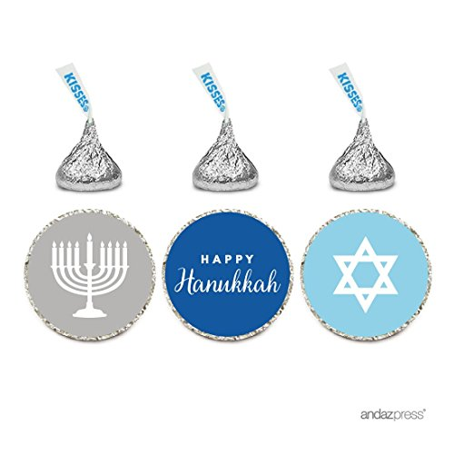 Andaz Press Chocolate Drop Labels Trio, Fits Hershey's Kisses, Hanukkah Menorah, 216-Pack