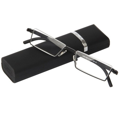 1 Pair Flexible Fashion Black Tr90 Half Frame Semi Rimless Reader Reading Glasses Eyewear Elder Eye Pocket Reader w/ Black Tube Portable Case (+1.50) (Reader Pocket Eyes)