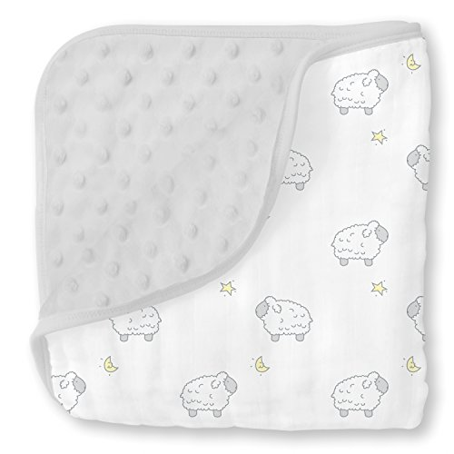 SwaddleDesigns Snuggle Blanket, Microfiber and Cotton Muslin, Sterling Little Lamb and Plush Dots
