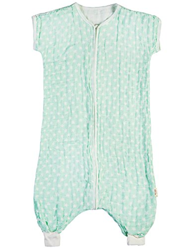 Sleepsack Toddler Sleeping Sack Spring Four Layer Muslin Cotton Sleeveless Wearable Blanket, Green Star, 18M ()