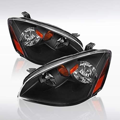 Autozensation For Nissan Altima Base SE SL JDM Black Headlights w/Amber Reflector Pair