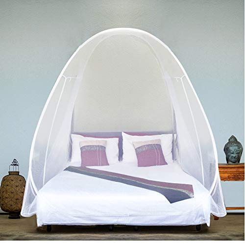 EVEN NATURALS Luxury Pop Up Mosquito Net Tent, Large: for Twin to King Size Bed, Finest Holes, Canopy, Insect Screen, Folding Design with Bottom, 2 Entries, Easy to Install, Storage Bag, No Chemicals (Curtains And Me Near Drapes)
