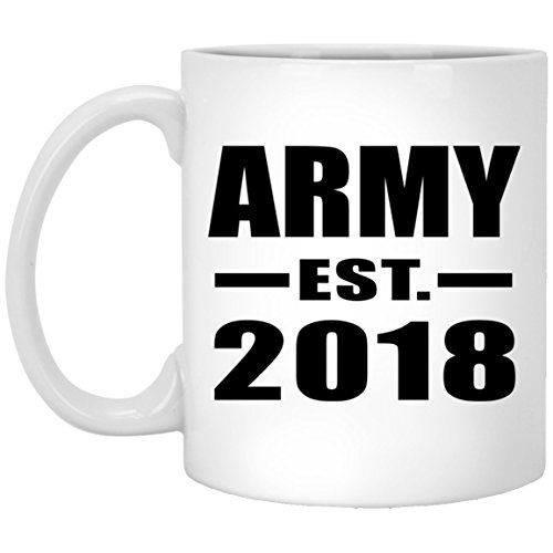 Designsify Army Established EST. 2018-11 Oz Coffee Mug, Ceramic Cup, Best Gift for Birthday, Wedding Anniversary, New Year, Valentine's Day, Easter, Mother's/Father's Day by Designsify