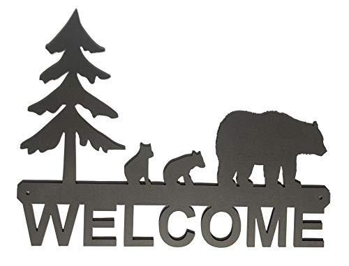 - Eagle Eye Products LLC Bears with Cubs Welcome Sign | Bear Welcome Sign | Black Bear Wall Art | Home Decor | Decorative Indoor Outdoor Metal Sign | Black 15