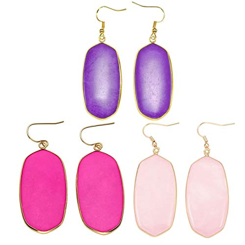 (Top Plaza 3 Pcs Womens Fashion Natural Gemstone Oval Rhombus Ear Hook Water Drop Ear Pendant Dangle Earring Healing Crystals Jewelry Set #2)