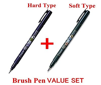 Tombow Fudenosuke Brush Pen - soft Type & Hard Type 2 Pens Arts Value set