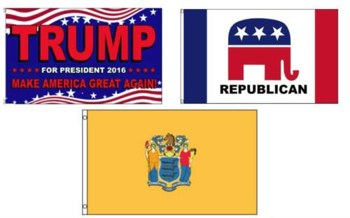 Moon 3x5 Trump 2016 & Republican & State of New Jersey Wholesale Set Flag 3x5 - Vivid Color and UV Fade Resistant - Prime Outside Garden Home Decor