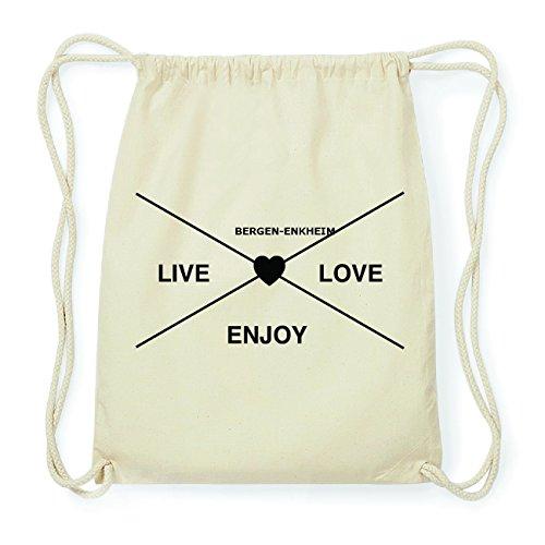 JOllify BERGEN-ENKHEIM Hipster Turnbeutel Tasche Rucksack aus Baumwolle - Farbe: natur Design: Hipster Kreuz