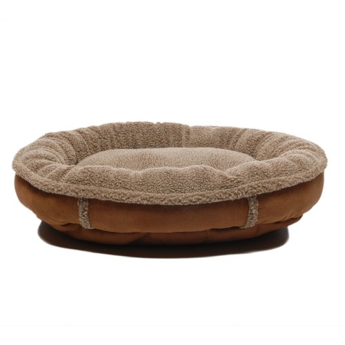 Cpc Faux Suede & Tipped Berber 42-Inch Round Comfy Cup, Brown