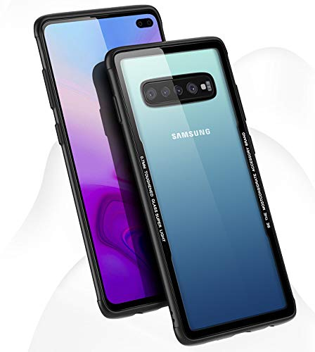 (Clear Hybrid Galaxy S10 Case,Thin Tempered Glass Back Cover and Soft Silicone Rubber Bumper Frame Case for Samsung Galaxy s10- Matte Black Frame (Black, for Galaxy)