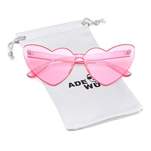 Love Heart Shape Sunglasses Women Rimless Frame Colorful SunGlasses (pink lens)