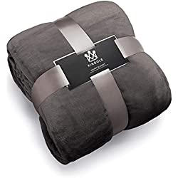 "Kingole Flannel Fleece Luxury 350GSM Lightweight Cozy Couch/Bed Ultra-Soft Plush Microfiber Silky Velvet Solid Color Blanket (Charcoal Gray, Queen -90"" x 90"")"