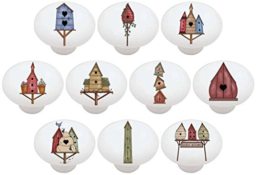 SET OF 10 KNOBS - Birdhouses Country - DECORATIVE Glossy CERAMIC Drawer PULL Dresser KNOB - FREE USA SHIPPING! ()