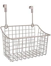 Metal Wire Over The Cabinet Door Kitchen Storage Organizer Holder Basket Shelf Storage Rack for Hair Dryer Bakeware Cleaning Supplies Bags Cookbook