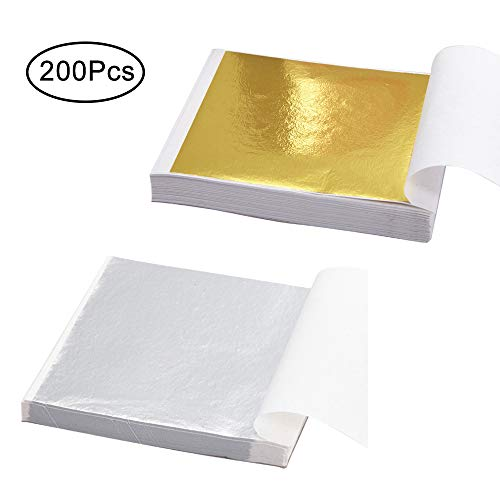 200 Sheets Gold Foil Paper Silver Leaf Gilding Foil Imitation Gold for Decoration, Art, DIY Nail,Crafting and Furniture (Gold and Silver) ()