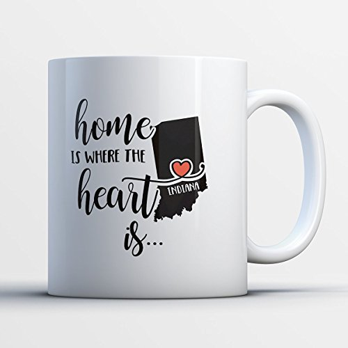 [Indiana Coffee Mug - Indiana Is Where The Heart Is - Adorable 11 oz White Ceramic Tea Cup - Cute Indianian Gifts with Indiana Sayings] (Halloween Usa Fort Wayne Indiana)