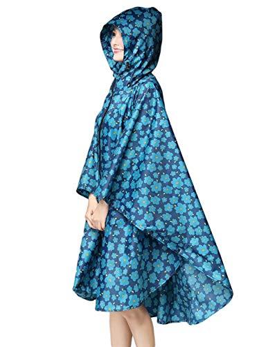 Léger Veste Battercake Imperméable Capuche Fleurs Regneponcho Dame Blau Solide Casual À Extérieure Femmes Pois Couleur L'eau UqqErz