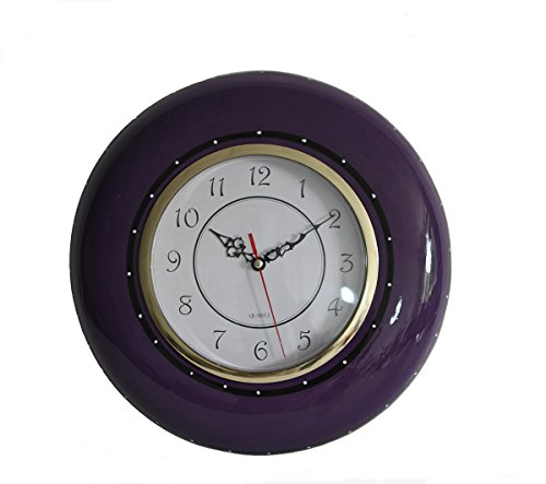 Tuscany Ruffle Purple Hand Painted Ceramic, Wall Clock, 86092 by ACK