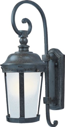 Maxim 86093FSBZ Dover EE 1-Light Outdoor Wall Lantern, Bronze Finish, Frosted Seedy Glass, GU24 Fluorescent Fluorescent Bulb , 60W Max., Dry Safety Rating, Standard Dimmable, Glass Shade Material, 1344 Rated Lumens - Bronze Dover Wall Lantern