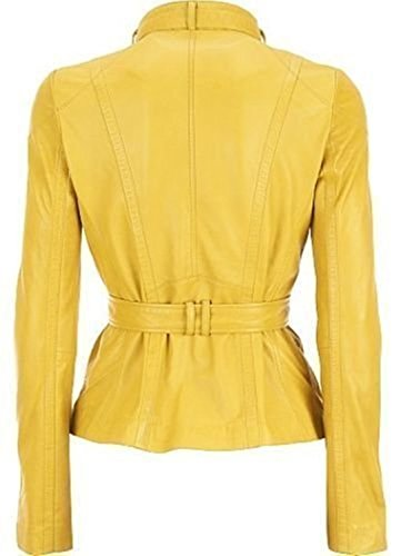 Mujer Leather Para Junction Amarillo Chaqueta 6BqPUpxq