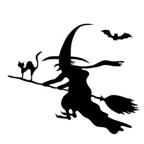 Happy Halloween Magical Witch and Spider Tomb Wall Decals Window Stickers Halloween Decorations for Kids Rooms Nursery Halloween Party (Style 2)
