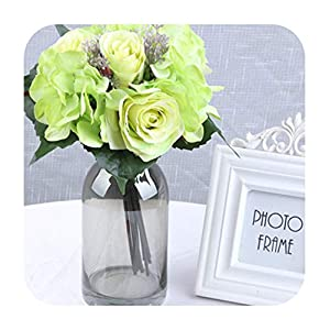 Artificial Fowers 9Pcs/12 Heads Lot Artificial Flowers Rose Hydrangea for Wedding Party Birthday Decoration Silk Flowers DIY Decorative Flower,Green 8 A 24