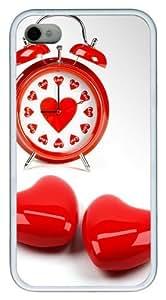 Cute Love Clock TPU White Case for iphone 4S/4