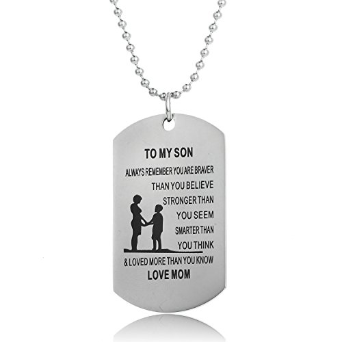 Always Remember You Are Braver Than You Believe Mom To Son Necklace Gift From Mother