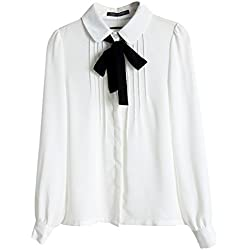 Hengzhi Women's Chiffon Lapel Shirts Cute Cats Back Zip Up Blouses Sweatshirt (S, Awhite)
