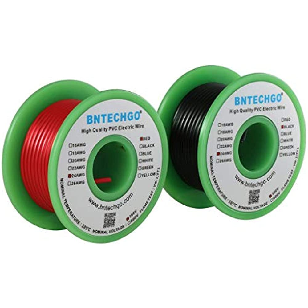 BNTECHGO 22 AWG 1007 Electric Wire 22 Gauge PVC 1007 Wire Solid Wire Hook Up Wire 300V Solid Tinned Copper Wire Black 25 ft Per Reel for DIY