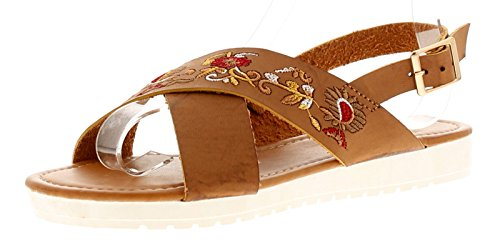 Platino Mariah Womens Ladies Flat Sandals Tan - Tan - UK Sizes 3-8 t1f7KvE
