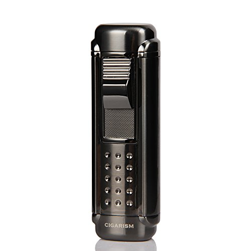 - CIGARISM Black 4 Torch Red Jet Flame Cigar Lighter W/Cigar Punch