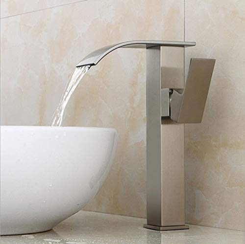 GONGFF Bathroom Sink Taps Faucet Brushed Faucet Basin Faucet Above Counter Basin Elevated Faucet Waterfall hot and Cold Faucet Bathroom Brass Faucet washbasin Faucet Mixing Faucet Single-Flush fauc