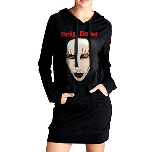 Confortable Marilyn Manson Face Sweatshirts Dress With Kangaroo Pocket