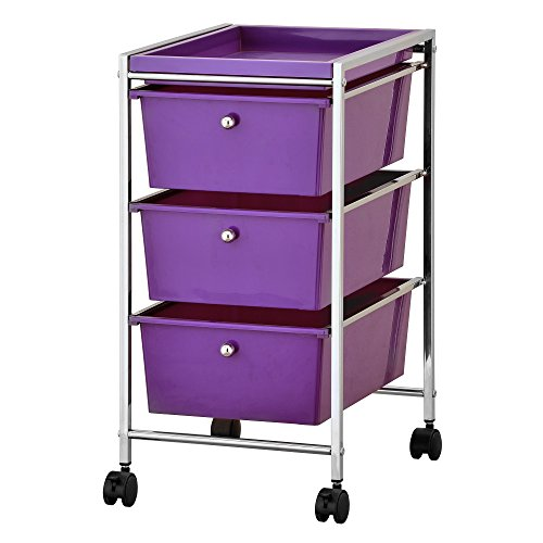 Furinno WS17303 Wayar Storage Cart, Chrome/Purple by Furinno