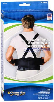Sport Aid Back Brace with Suspenders XL Black - Each, Pack of 4 by SportAid