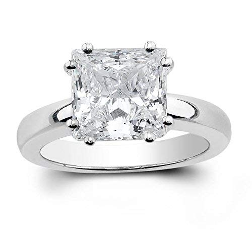 Women's Princess Cut White Sapphire Solitaire engagement ring 2.00 TCW ()