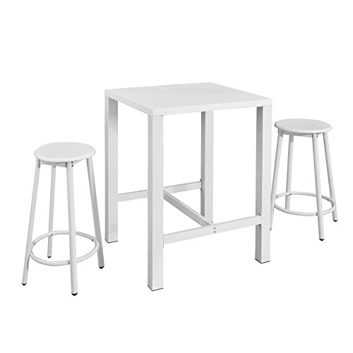 Bistro Counter Height Set (Haotian Outdoor Bistro Set, Garden Seat,Patio Sets, Dining Set Counter Height,Kitchen Table Set OGT12-W,White)
