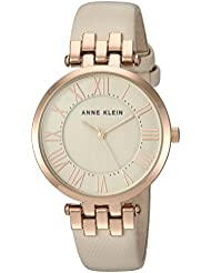 Anne Klein Womens AK/2618RGIV Rose Gold-Tone and Ivory Leather Strap Watch