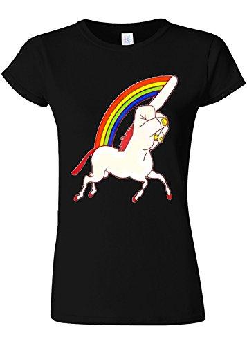 聞くただやるずんぐりしたUnicorn Middle Finger Funny Novelty Black Women T Shirt Top-S