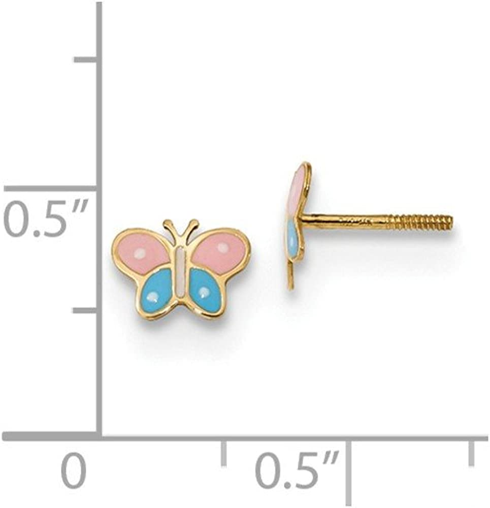14k White Gold Madi K Polished Pink CZ Butterfly Post Earrings