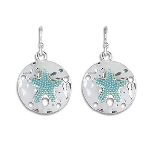 Periwinkle by Barlow - Silver and Aqua Sand Dollar Dangle Earrings