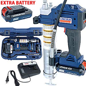 Lincoln 1884 20V Li-Ion PowerLuber Dual Battery Unit with Charger and Carrying Case ()