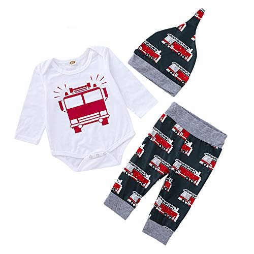 3PCS Infant Rompers Pants Hat Clothes Set Baby Boys Girls Fire Truck Printed Romper Matching Harem Bottoms Hat Outfits