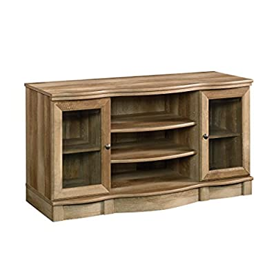 """Sauder Regent Place TV Stand, 50"""", Craftsman Oak finish - Accommodates up to a 50"""" Tv weighing 95 lbs. Or less Two adjustable shelves hold audio/video equipment Adjustable shelf behind each framed, safety-tempered Glass door - tv-stands, living-room-furniture, living-room - 417Dwb%2BP8iL. SS400  -"""